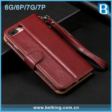 Wholesale Leather Flip Phone Case For iPhone 7, For Iphone 6 Wallet Zipper Case, For Apple iphone 7 Magnet Folio Cover