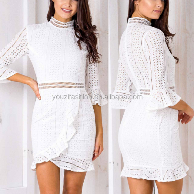 White long sleeves high neck lace up petite woman dress 2017 autumn winter new design