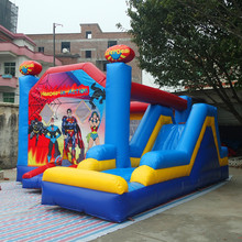 commercial outdoor inflatable air bouncy inflatable jumping house heroes in action theme indoor inflatable bouncer with slide