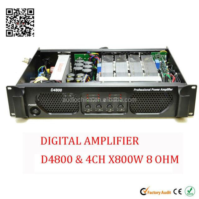 4 channel 4 x 800 watt D4800 digital switching power amplifier