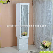 Floor stand Storage Display Rotating Wooden Mirror Jewelry Cabinet