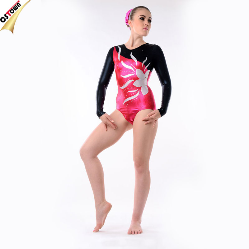 4-way Stretch Fabrics Rhinestone Detailed Sparkle Leotard for Girls Gymnastics