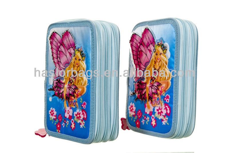 3-layer 2-layer Cartoon Character Sky Blue Pencil Case Pencil Case
