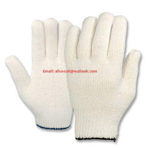 knitted cotton gloves 10gauge natural white