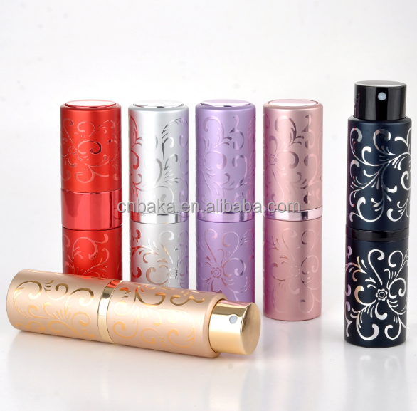 15ml glass bottle aluminum perfume refill travel atomizer with embossed rotation, colorful round tube bottle with spray pump