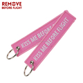Fashion embroidery keychain,cheap price,Kiss Me Before Flight-Pink/RED/Custom