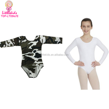 Child Camo / White Long Sleeved Cotton Ballet Leotard Tight Good Shape Fit Gymnastics Girl Leotard