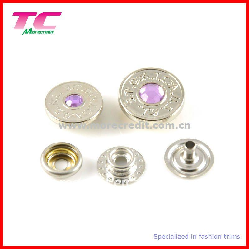 Custom rhinestone snap fasteners for clothes