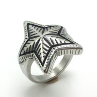 Fashionable stainless steel cool men gay rings with star shaped