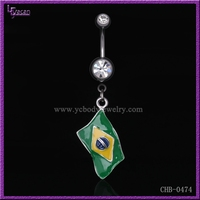 Olympic Jewelry Charms Stainless Steel Flag Logo Brazil Short Belly Button Rings