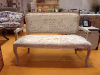 French style fabric sofa antiqued finish living room sofa