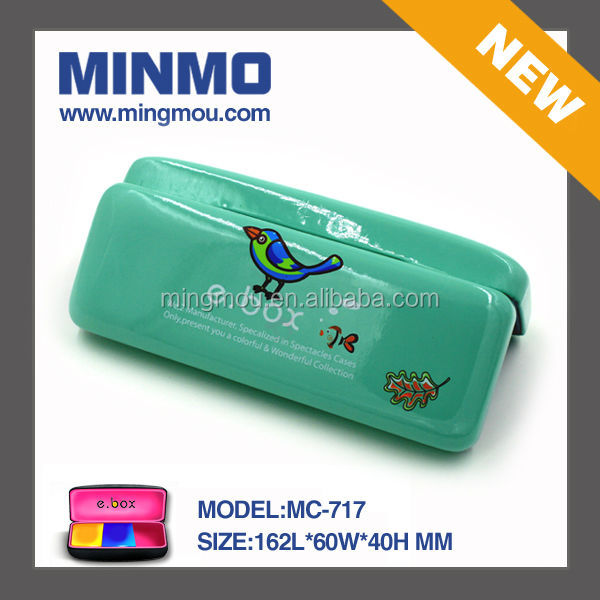 green PU leather eyeglasses case for kids,lovely bird glasses case