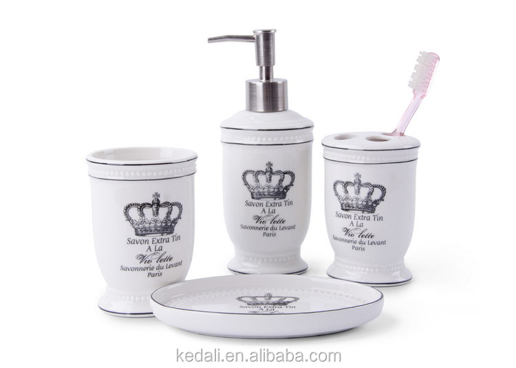 elegant and modern white Decal 4pcs ceramic bathroom set with customized