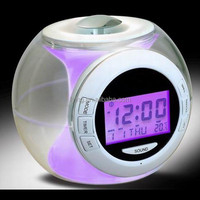 High quality natural sound digital alarm clock with temperature,timer and 7 color light display