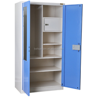 Light blue steel clothes cabinet with mirror/indian metal wardrobe cabinet