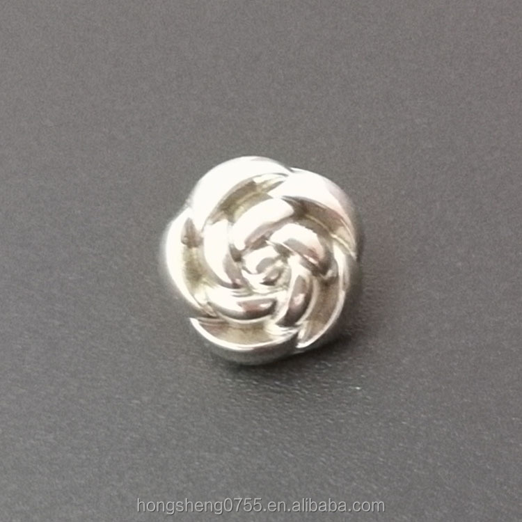 Factory Direct Selling Metal Fashion Silver Small Rose Shape Buttons Baby Cloth Buttons