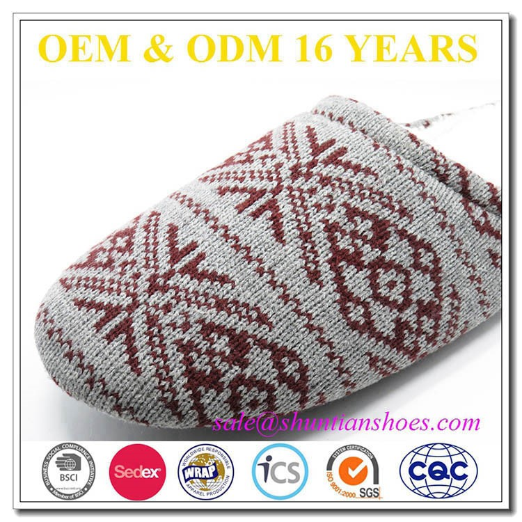 2016 snowflake knitted plush insock mens winter house slipper