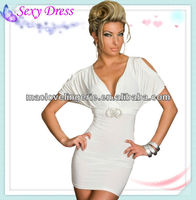 Black/White New Items V-neck Short Sleeves Hollow Out Shoulder White Fashion Going Out Dresses