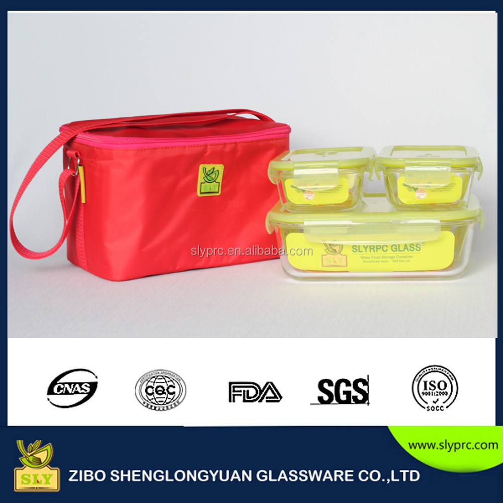 2016 New glass lunch box with tote bag /thermos glass lunch box with picnic bags