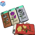 Custom rose 3d hand embroidered housing for iphone 8 8 plus case printing custom accessories