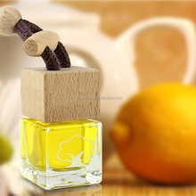 High quality empty square hanging car perfume bottle with wooden cap