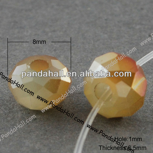 New List Half Plated Faceted Rondelle Glass Bead, 8mm Imitation Jade Bead(EGLA-R035-8mm-24)