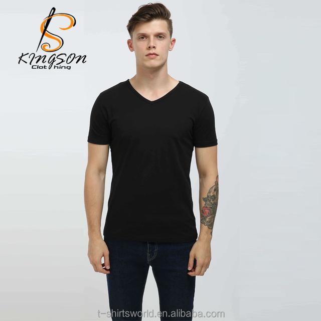 Wholesale 100% Cotton Cheap V- Neck Men Blank T-shirt
