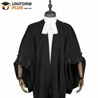 High quality traditional black lawyer robe and barrister gown