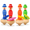 high quality colorful wooden spinning top for kids W01B022