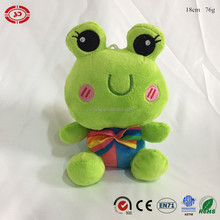 Frog with embroidered face cute fancy sitting plush soft stuffed custom CE green keychain toy