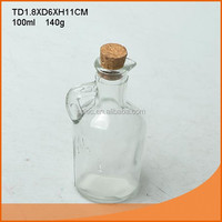Classic small clear glass bottle with handle for oil or vinegar dispenser with cork lid 100ml