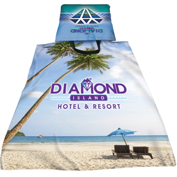 "Full Color Sublimated Towel Bag - measures 28"" x 58"", towel folds out from bag and comes with your designs"