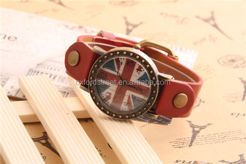 Custom design your own brand logo tags british style upscale quality men watch with Union Jack