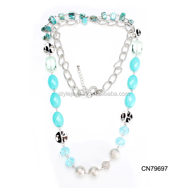 CN79697 Top Selling Unique Handmade Silver Shell Stone Crystal Charm Necklace