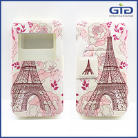 [GGIT]Eiffel Tower Pattern PU Silicon Megnetic Window Flip Case for Mobile Phone Leather Case
