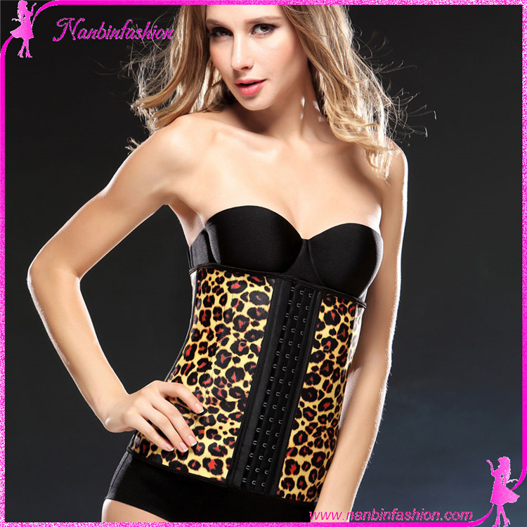 Ninbinfashion leopard wholesale cheap latex steel boned waist trimmer corset for ladies