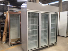 commercial glass door refrigerator freezer/supermarket 3 door cooler/meat freezer