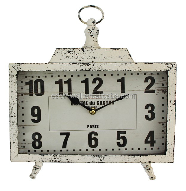 antic white 2 stand 1 hanging ring iron metal spring table clock 30x33.5x5.5cm