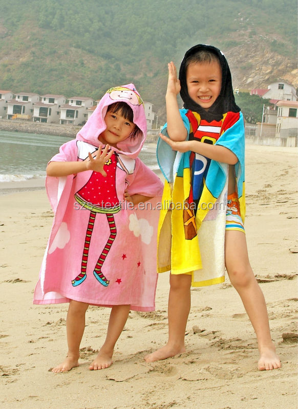 kids surf hooded poncho beach towel