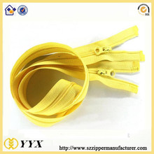 No.5 double slider X type yellow tape and teeth derlin zipper