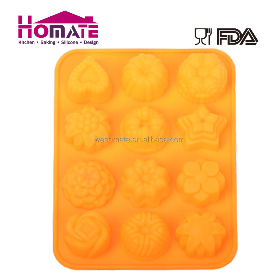 12 Cavity Silicone Soap Cake Mold Chocolate Muffin Cupcake Baking Mould Pan