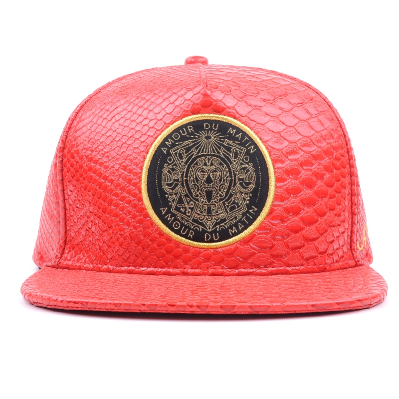 Machine embroidery woven patch snakeskin snapback hip hop