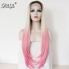 Partial pink ombre lace front wig