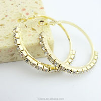 Brass Material Piercing Indian Gold Hoop Earrings Rose Gold CZ Crystal 45mm Earring Hoops