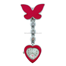Free Shipping!! Butterfly Heart Shape Nurse Watch with Safety Clip Hanging Pocket Nurse Fob Watch Relog Luminous Hands