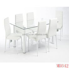 Hot Sale Rectangle Modern Design Glass Top table set dining room