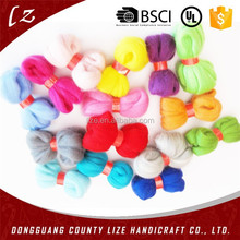 2015 hot sales new product home crafts holiday Popular wool roving dyed wool felt fine merino diy wool