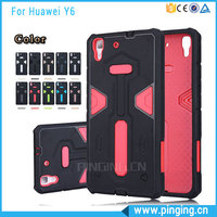 Hot Selling PC + TPU Hybrid Combo Anti-falling Double Color Rugged Armor Cover Case For Huawei Y6