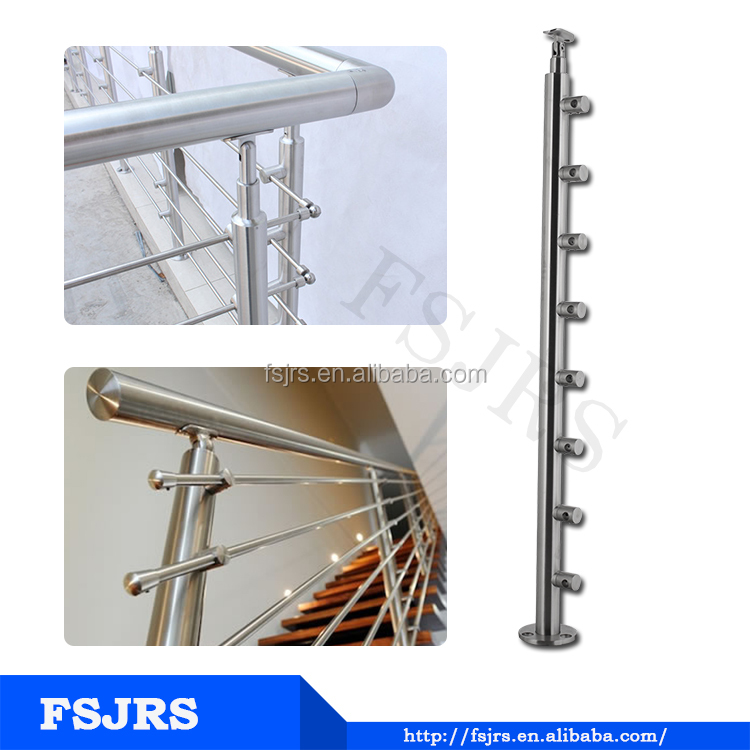 FSJRS staircase stainless steel wire railing with round timber handrail