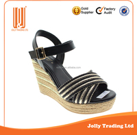 Latest New Product Women Ladies High Heel Wedge Sandals Black